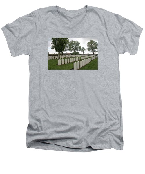 Men's V-Neck T-Shirt featuring the photograph Messines Ridge British Cemetery by Travel Pics
