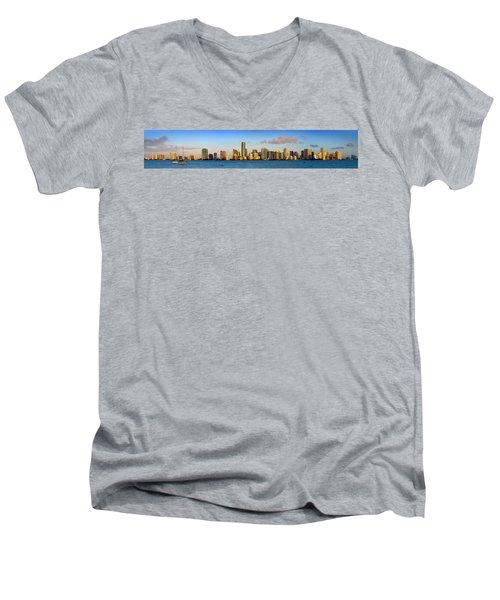 Miami Skyline In Morning Daytime Panorama Men's V-Neck T-Shirt by Jon Holiday