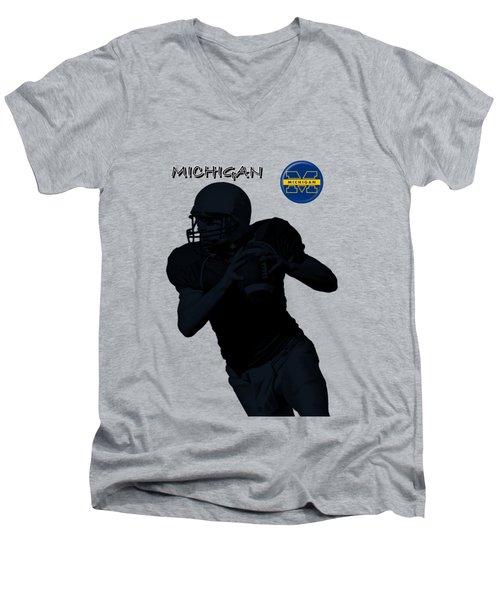 Michigan Football  Men's V-Neck T-Shirt by David Dehner