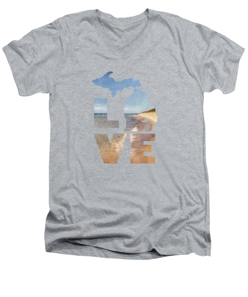 Michigan Love Men's V-Neck T-Shirt by Emily Kay