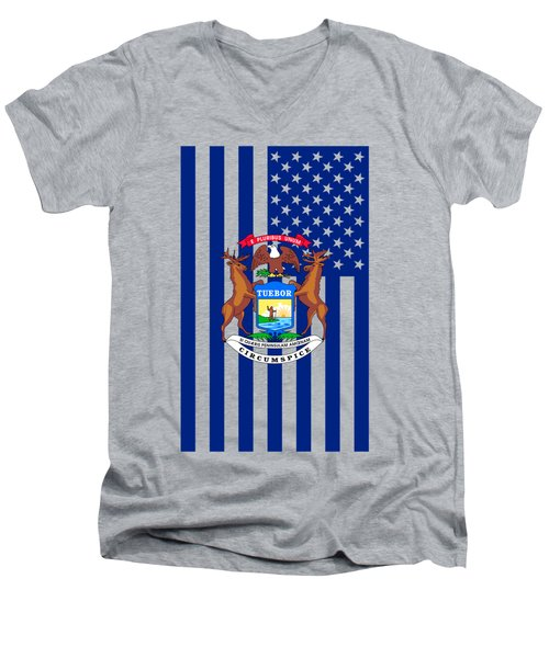 Michigan State Flag Graphic Usa Styling Men's V-Neck T-Shirt by Garaga Designs
