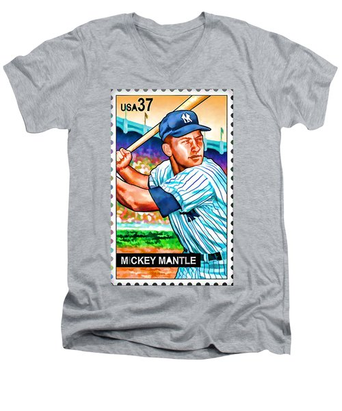 Mickey Mantle Men's V-Neck T-Shirt by Lanjee Chee