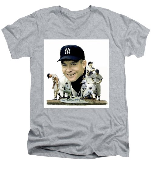 Mickey Mantle Legacy, II  Men's V-Neck T-Shirt by Iconic Images Art Gallery David Pucciarelli