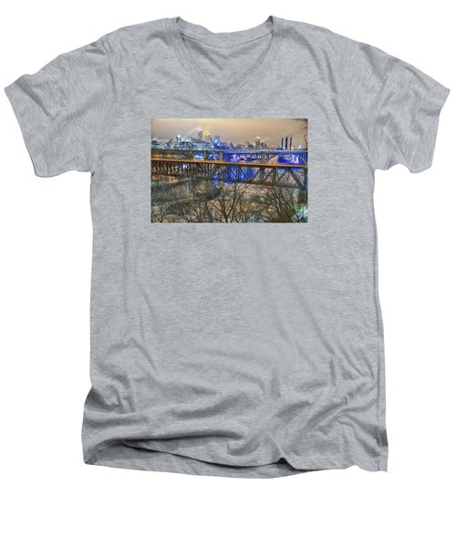 Minneapolis Bridges Men's V-Neck T-Shirt by Craig Voth
