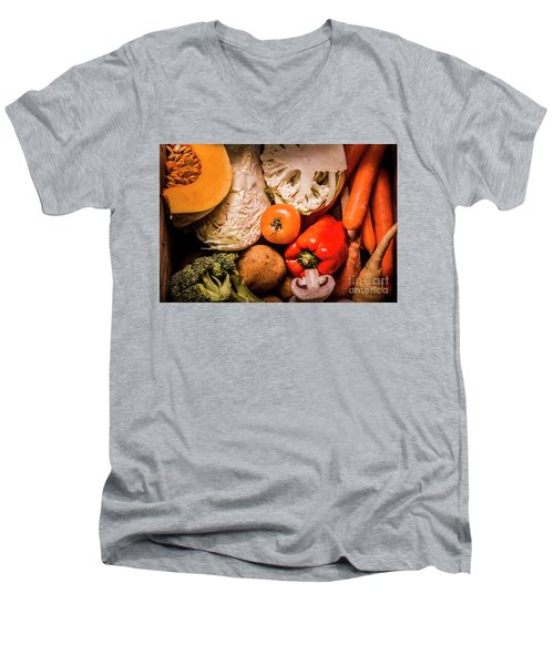Mixed Vegetable Produce Pack Men's V-Neck T-Shirt by Jorgo Photography - Wall Art Gallery
