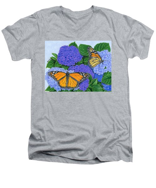 Monarch Butterflies And Hydrangeas Men's V-Neck T-Shirt by Sarah Batalka