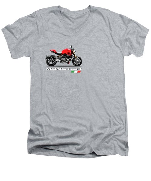 Monster 1200 Men's V-Neck T-Shirt by Mark Rogan
