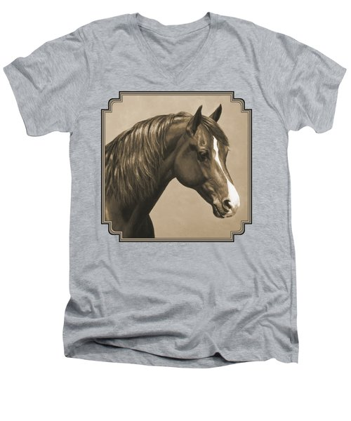 Morgan Horse Painting In Sepia Men's V-Neck T-Shirt by Crista Forest