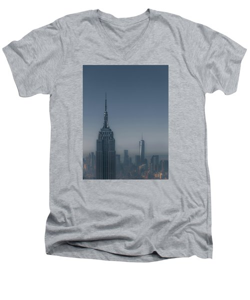 Morning In New York Men's V-Neck T-Shirt by Chris Fletcher