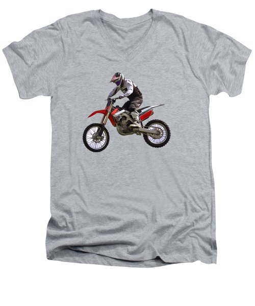 Motocross Men's V-Neck T-Shirt by Scott Carruthers
