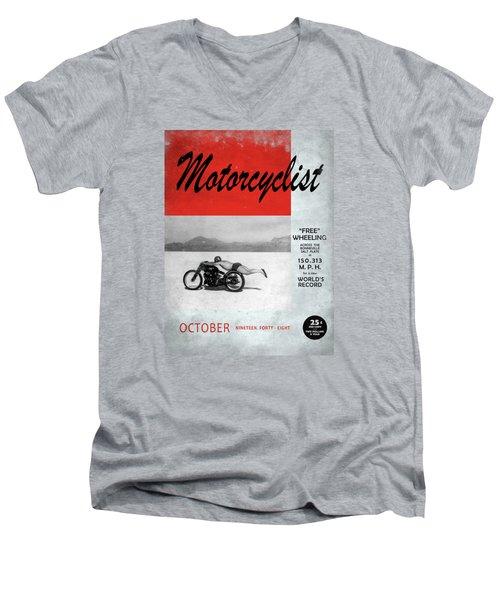 Motorcyclist Magazine - Rollie Free Men's V-Neck T-Shirt by Mark Rogan
