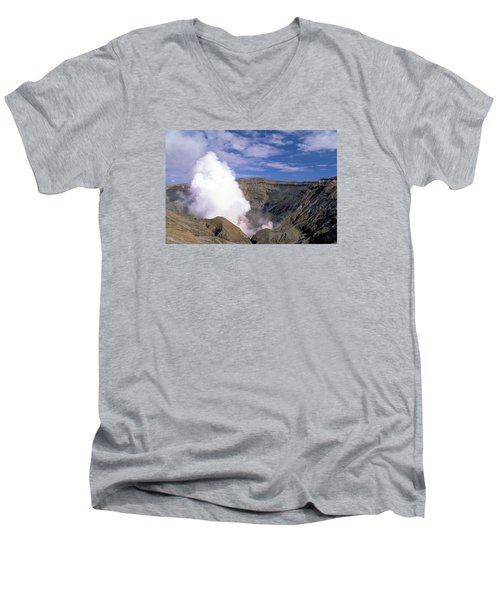 Men's V-Neck T-Shirt featuring the photograph Mount Aso by Travel Pics