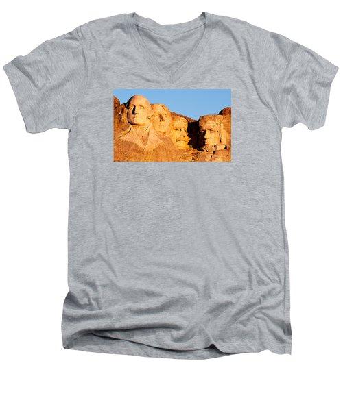 Mount Rushmore Men's V-Neck T-Shirt by Todd Klassy