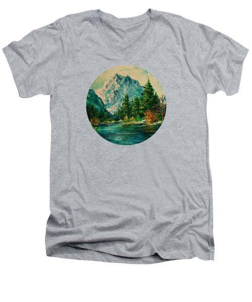 Mountain Lake Men's V-Neck T-Shirt by Mary Wolf