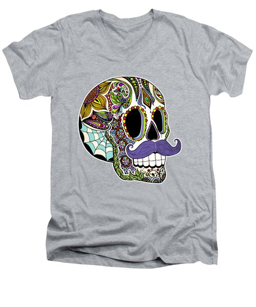 Mustache Sugar Skull Vintage Style Men's V-Neck T-Shirt by Tammy Wetzel