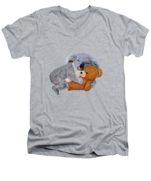 Naptime With Teddy Bear Men's V-Neck T-Shirt by Glenn Holbrook