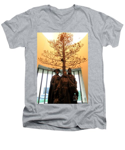 National Museum Of The American Indian 7 Men's V-Neck T-Shirt by Randall Weidner
