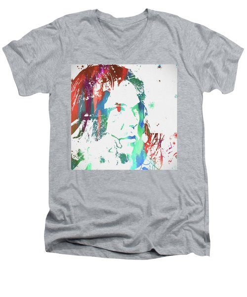 Neil Young Paint Splatter Men's V-Neck T-Shirt by Dan Sproul