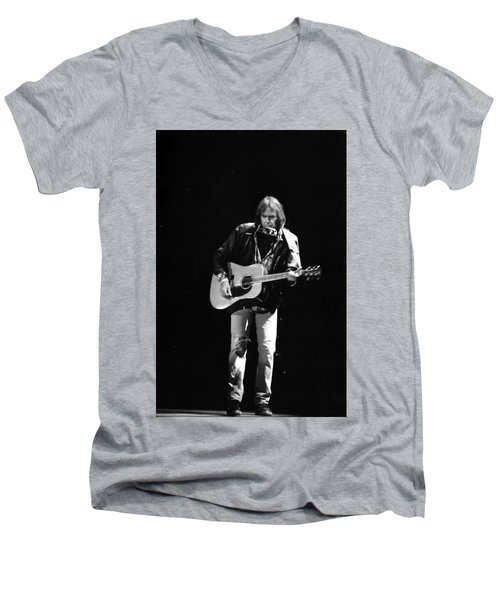 Neil Young Men's V-Neck T-Shirt by Wayne Doyle