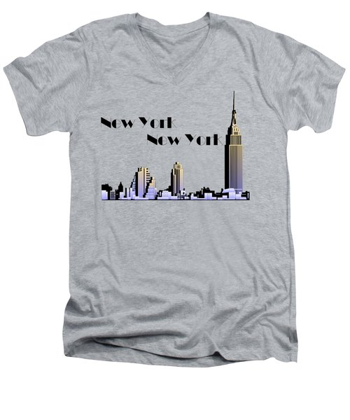New York New York Skyline Retro 1930s Style Men's V-Neck T-Shirt by Heidi De Leeuw