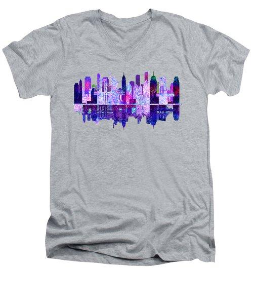 New York Skyline Red Men's V-Neck T-Shirt by John Groves