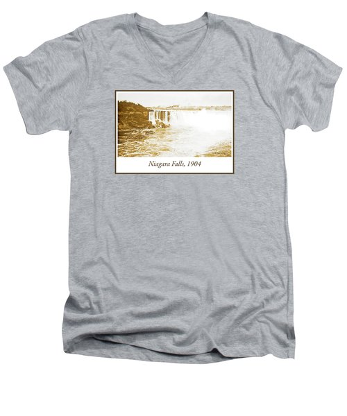 Men's V-Neck T-Shirt featuring the photograph Niagara Falls Ferry Boat 1904 Vintage Photograph by A Gurmankin