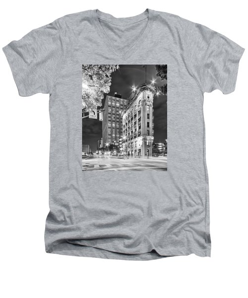 Night Photograph Of The Flatiron Or Saunders Triangle Building - Downtown Fort Worth - Texas Men's V-Neck T-Shirt by Silvio Ligutti