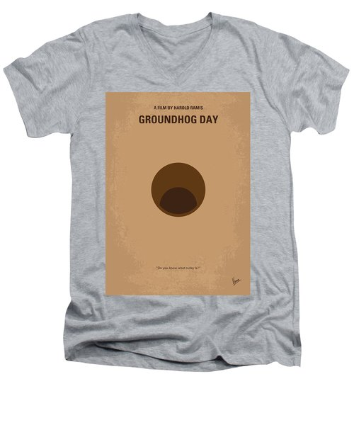 No031 My Groundhog Minimal Movie Poster Men's V-Neck T-Shirt by Chungkong Art