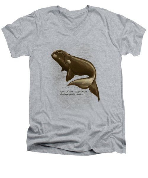 North Atlantic Right Whale Men's V-Neck T-Shirt by Amber Marine