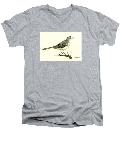 Northern Mockingbird Men's V-Neck T-Shirt by Juan  Bosco