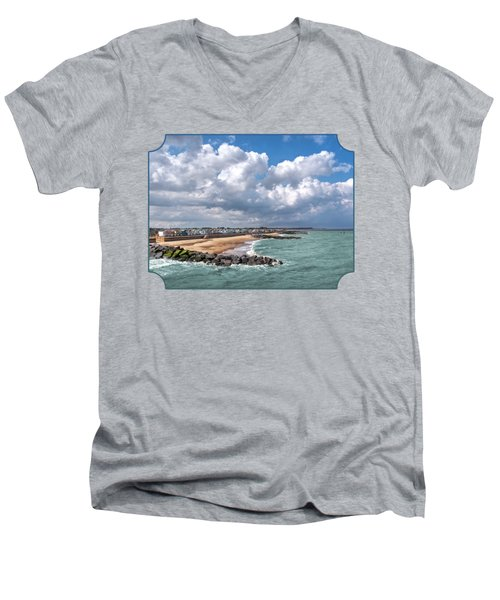 Ocean View - Colorful Beach Huts Men's V-Neck T-Shirt by Gill Billington