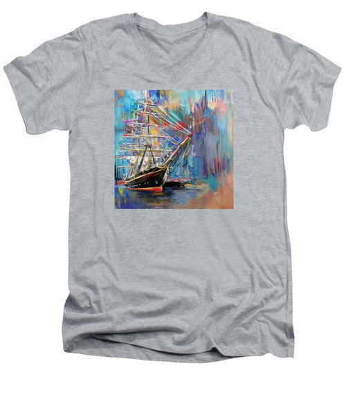 Old Ship 226 1 Men's V-Neck T-Shirt by Mawra Tahreem