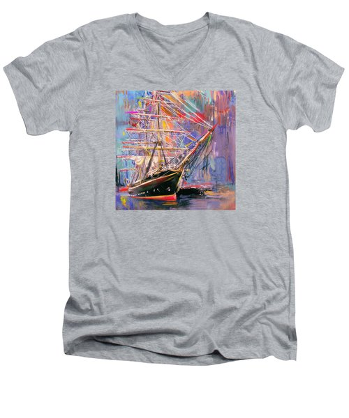 Old Ship 226 4 Men's V-Neck T-Shirt by Mawra Tahreem