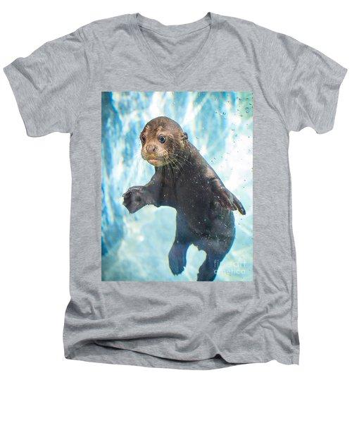 Otter Cuteness Men's V-Neck T-Shirt by Jamie Pham