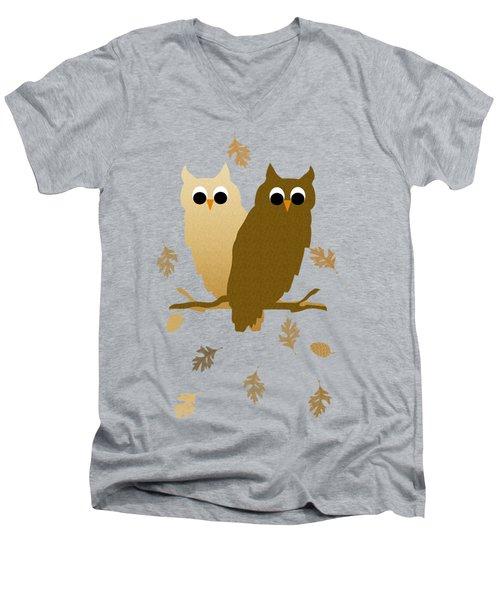 Owls Pattern Art Men's V-Neck T-Shirt by Christina Rollo