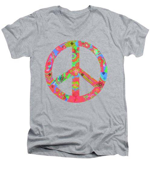Peace Men's V-Neck T-Shirt by Linda Lees