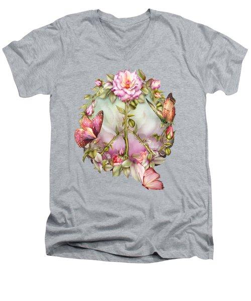 Peace Rose Men's V-Neck T-Shirt by Carol Cavalaris