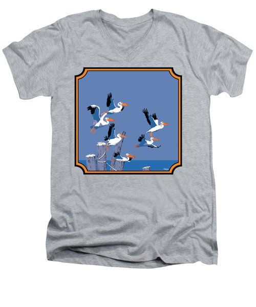 Pelicans In Flight Tropical Seascape - Abstract - Square Format Men's V-Neck T-Shirt by Walt Curlee