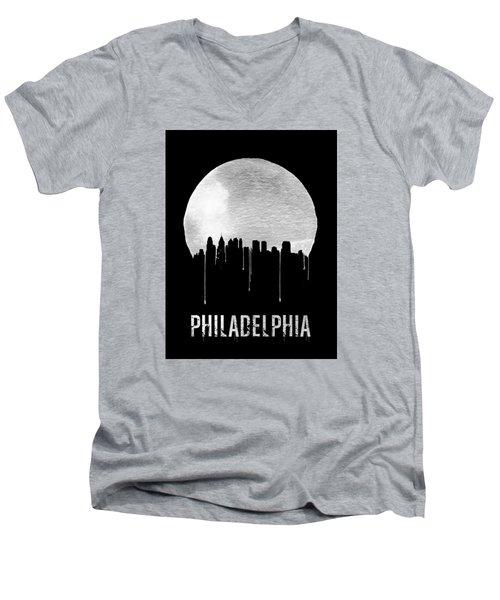 Philadelphia Skyline Black Men's V-Neck T-Shirt by Naxart Studio