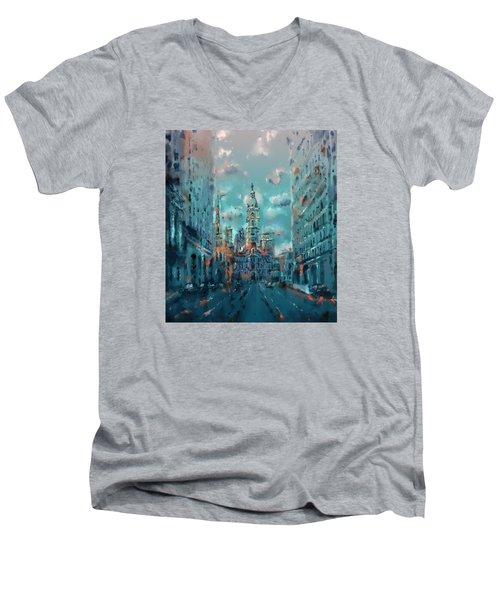 Philadelphia Street Men's V-Neck T-Shirt by Bekim Art