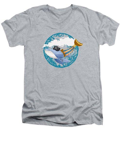 Pirate Whale Men's V-Neck T-Shirt by David Perez