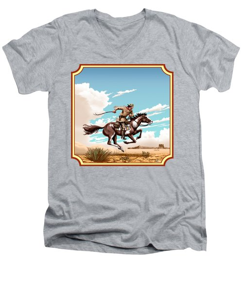 Pony Express Rider - Western Americana - Square Format Men's V-Neck T-Shirt by Walt Curlee