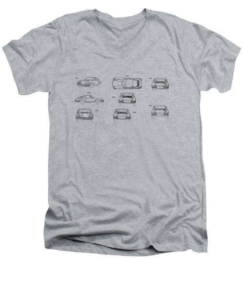Porsche 911 Patent Men's V-Neck T-Shirt by Mark Rogan