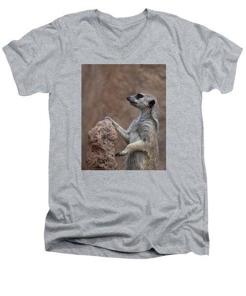 Pose Of The Meerkat Men's V-Neck T-Shirt by Ernie Echols