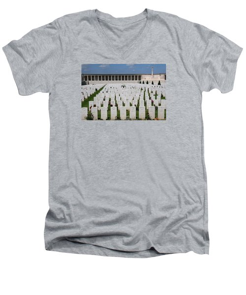 Men's V-Neck T-Shirt featuring the photograph Pozieres British Cemetery by Travel Pics