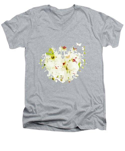 Pretty Pear Petals Men's V-Neck T-Shirt by Anita Faye