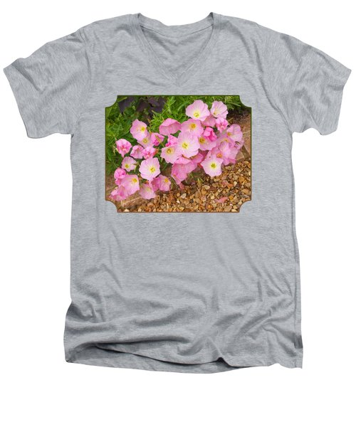 Pretty Pink Rock Roses In The Rain Men's V-Neck T-Shirt by Gill Billington