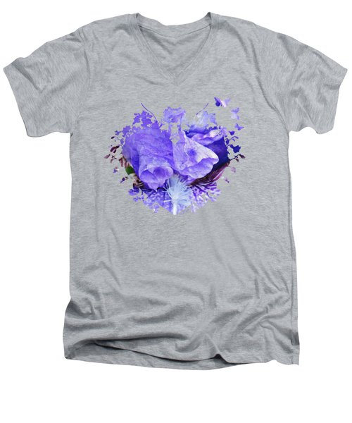 Pretty Purple Men's V-Neck T-Shirt by Anita Faye