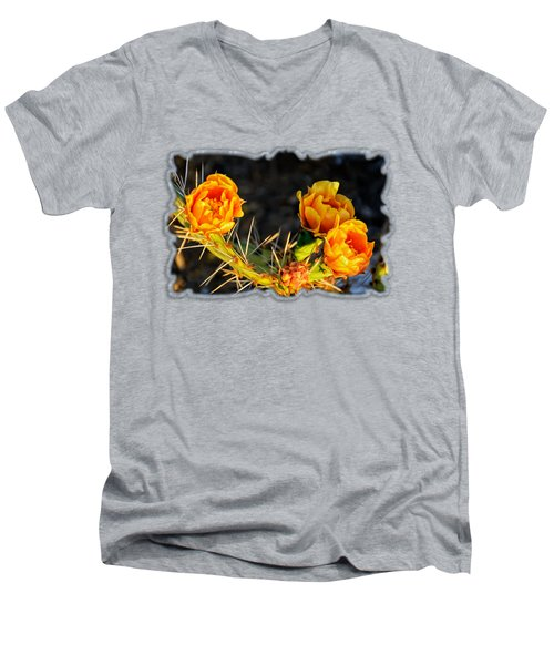 Prickly Pear Flowers Op49 Men's V-Neck T-Shirt by Mark Myhaver