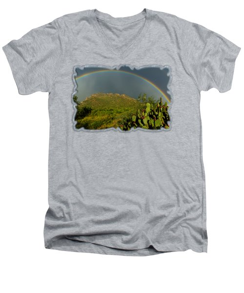 Pusch Ridge Rainbow H38 Men's V-Neck T-Shirt by Mark Myhaver